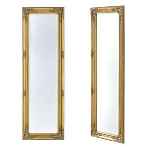 Wandspiegel Barock 132 x 42 cm Gold Ganzkörperspiegel im Eukalyptusholz Rahmen Antik Spiegel mit Ornamenten verziert [en.casa]