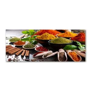 Tulup® Glas-Bild Wandbild aus Glas - 125x50 - Wandkunst - Wandbild hinter gehärtetem Sicherheitsglas - Dekorative Wand für Küche & Wohnzimmer  - Essen & Getränke - Bunte Gewürze - Mehrfarbig