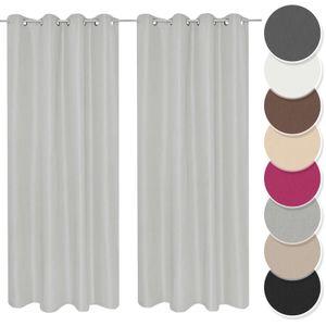 Melody Vorhang 2er Set Gardine Curtain Blickdicht Ösenschal hellgrau 140x245 cm Wohnbereich #9018