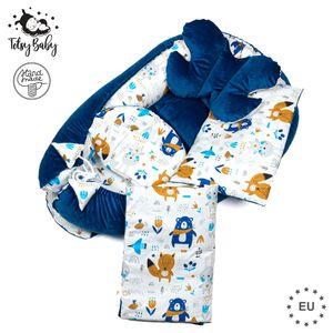Babynestchen Set Neugeborene - Kuschelnest Baby Nestchen Bett Set 5- Teilig Kokon Baumwolle – Fleecestoff Velvet Dunkelblau mit Tiermuster