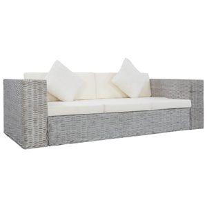 vidaXL 3-Sitzer-Sofa mit Polstern Grau Natürliches Rattan