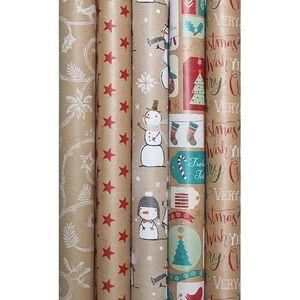 5 Rollen Geschenkpapier für Weihnachten mit jeweils 2 x 0,7 m - Geschenkverpackung - Weihnachtspapier - Weihnachtsgeschenkpapier