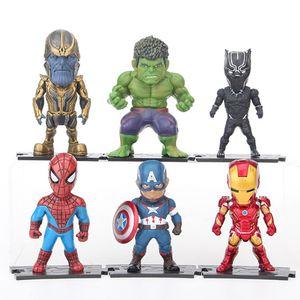 6 Stück Avengers Figur Spielzeug Iron Man Spider-Man Thanos Hulk Panther Captain America