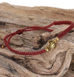 Ethno Schildkröten Perlenarmband, Makramee Armband - Dunkelrot, Armreifen & Armbänder Modeschmuck