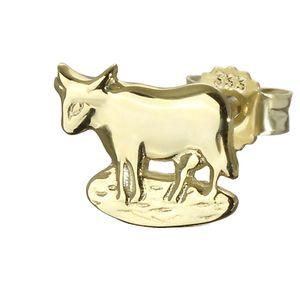Einzel kleine Kuh Stier 333er Gold 8 Karat Ohrstecker 9*8mm Ohrring männer 4845