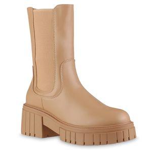 VAN HILL Damen Leicht Gefütterte Plateaustiefel Stiefel Profil-Sohle Schuhe 837812, Farbe: Tan, Größe: 39