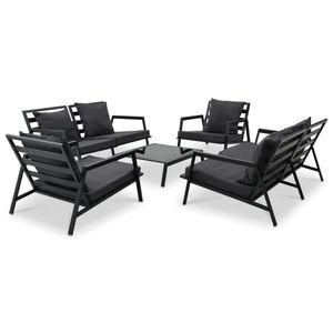 Garten-Palettensofa-Set 5-TLG. Sitzgruppe Gartengarnitur Garten-Lounge-Set mit Auflagen Aluminium Dunkelgrau☆7204