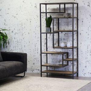 Livin24 Bücherregal Siebe Industrial Design Metall Mangoholz