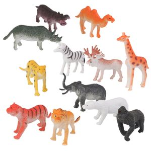 Wildtier Modell - 12 Pcs (Löwe, Nashorn, Zebra, Giraffe, Orang-Utans, Elefanten, Tiger, David Rotwild, Kamel, weißer Bär, Flusspferde, Leoparden )