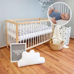 Alcube Babybett 140x70 cm mit Matratze ohne Schublade I Gitterbett 70x140 cm in Bunt I Gitterbetten Holz Kinderbett