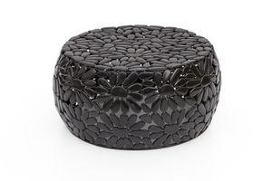 Design Metall Beistelltisch Ø56cm Steinmuster Couchtisch Wohnzimmertisch schwarz