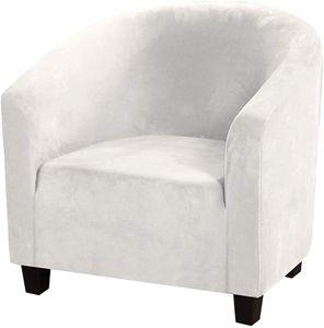 (Weiß) Club Stuhl Schonbezug, High Stretch Samt Badewanne Stuhlhussen Sessel Sofabezug Schonbezug Möbelschutz Soft Couch Bezüge