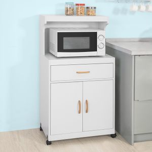 SoBuy FSB12-W Mikrowellenschrank mit Rollen Küchenschrank Küchenwagen Getränkewagen mit 2 Ablagen, 2 Türen und 1 Schublade, weiß BHT ca.: 62x119x40cm