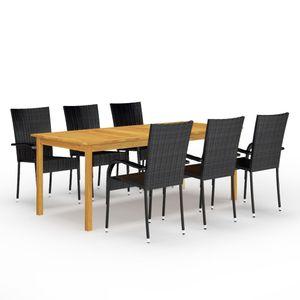 Möbel® 7-tlg. Garten-Essgruppe,mit Tisch & 6 Stühle,Gartenmöbel,Outdoor-Essgarnitur für 6 Personen,Einfach Montage,Schwarz🐳9069
