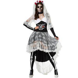 dressforfun Frauenkostüm Gruselige Skelett-Braut - XXL
