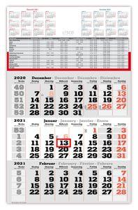 3 Monats Wandkalender 2021 mit Datumschieber in Rot, inkl. Ferienübersichten und Jahresüberblick Dreimonatskalender, 3 Monatskalender keine Werbung