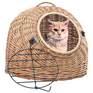TOP® Katzenhaus Transportkorb Transportbox für Katzen Hunde, 50×42×40 cm Natürliche Weide