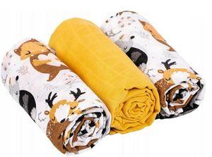 Musselin Tücher Mullwindeln Baby Spucktücher Mulltücher 70x80 cm Baumwolle  3er Pack Tiere/Senf