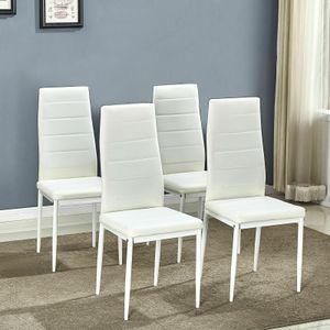 Mondeer 4er-set Esszimmerstühle, Esstischgruppe, Sitzgruppe aus Kunstleder, Weiß