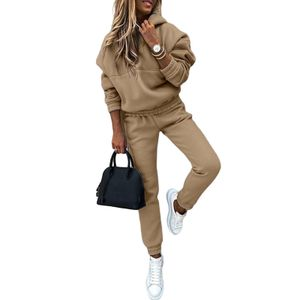 Damen Kapuzenoberteil Freizeitanzug Jogging Sportswear Anzug,Farbe: Khaki,Größe:M