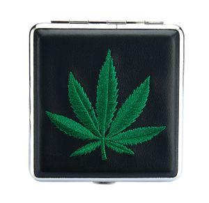 "ZIGARETTENETUI ""Hanfblatt"" Hanf Leder für 20 Zigaretten Etui Zigarettenbox Zigarettendose Case Cannabis Box Dose 62 (Grün)"