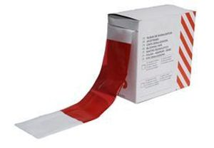 1x Absperrband 80mm breit, 500 Meter aus LDPE,  rot/weiß