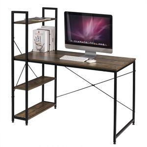 WOLTU TSB01hov Schreibtisch Computertisch Büromöbel PC Tisch Bürotisch Arbeitstisch aus Holz und Stahl, mit Ablage, ca. 120x64x120 cm Schwarz Vintage