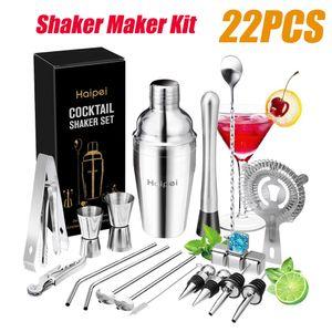 22Stk 550ML Cocktail Shaker Set Cocktail Shaker Edelstahl Glas Bar Mixer