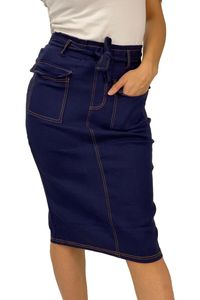 Damen Denim Stretch Rock Jeans Look Knielang Basic Skirt Dicke Kontrast Naht mit Schlitz & Gürtel, Farben:Blau, Größe:L-XL