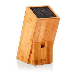 Klarstein Messerblock schief , Material: Bambus , innovativer, herausnehmbarer Borsteneinsatz , für 5 bis 10 Messer bis 20 cm Länge