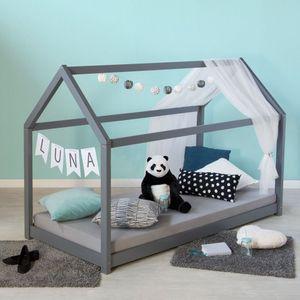 Homestyle4u 1853, Hausbett Kinderbett 90x200 Grau mit Lattenrost Kinder Bett Haus Holz Kiefer