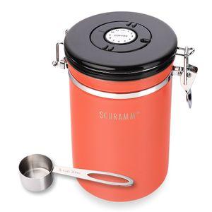 Schramm® Kaffeedose 1800 ml in 10 Farben mit Dosierlöffel Höhe: 19cm Kaffeedosen Kaffeebehälter aus Edelstahl , Farbe:Orange