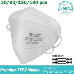 60 DOC FFP3 Maske, CE0598 EU Konform, Atemschutzmasken gegen, 5 lagige Maske, Filtert 99% der Bakterien, Gegen Staub und Partikelschutzmask