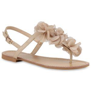 Mytrendshoe Modische Damen Sandalen Blumen Zehentrenner Sommer Schuhe 892247, Farbe: Nude, Größe: 39