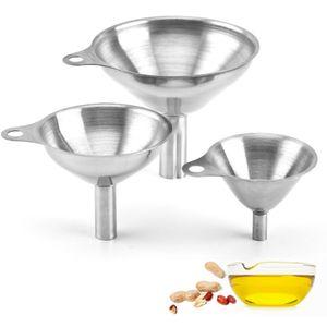 Edelstahl Trichter, 3 Stück Kitchen Strainer Trichter Set, Edelstahl Trichter Filter Set für die Übertragung von flüssigen Zutaten,trockenen Zutaten und Pulver