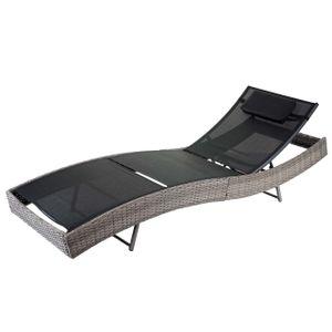 Sonnenliege Savannah, Relaxliege Gartenliege Liege, Poly-Rattan  grau, Bezug schwarz