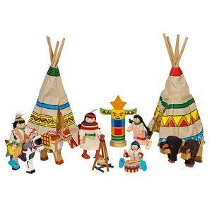goki 51911 Biegepuppen Indianerlager, mehrfarbig (1 Set)