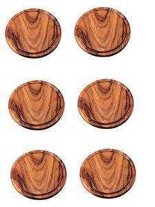 Neustanlo 6 Stück Grillteller/Brotzeitbrettchen aus Akazien Holz (25 cm Ø)