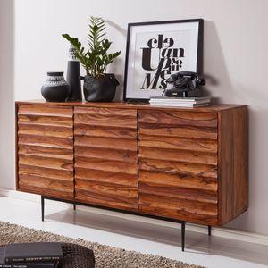 WOHNLING Sideboard WL5.635 Sheesham Massivholz 150x81x41 cm Landhaus Kommode | Design Anrichte Groß | Hoher Kommodenschrank mit 3 Türen Holz Massiv | Standschrank Wohnzimmer Modern