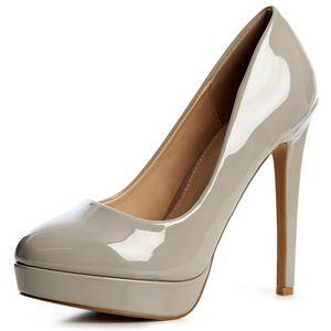 topschuhe24 1220 Damen Lack Plateau Pumps High Heels Stilettos Blogger Style, Farbe:Grau, Größe:36 EU