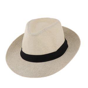 Männer Frauen Stroh Panamahut Fedora Trilby Cap Sombrero Sunhat Breiter Rand Khaki Strohhut wie beschrieben