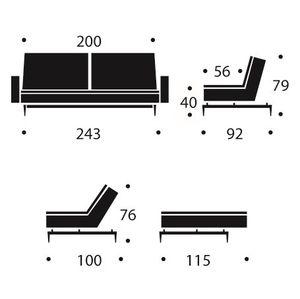 Innovation Schlafsofa Dublexo mit Armlehnen   3 Stoffe   6 Fußsets   Federkern