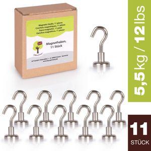 OfficeTree 11 Magnethaken Neodym-Magnete - 1,6 x 3,3 cm - extra starke Haftkraft an Whiteboard, Magn