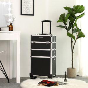 SONGMICS Kosmetikkoffer, 34,8 x 25 x 71,5 cm, professioneller Make-up Koffer, 3-in-1 Schminkkoffer für Reisen, großer Trolley für Friseure, abschließbar, mit um 360° drehbaren Universal-Rollen, schwarz JHZ01B