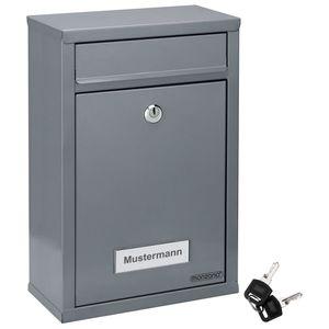 Monzana Briefkasten Wandbriefkasten Briefkastenanlage Postkasten Briefbox Stahl, Farbe:silber