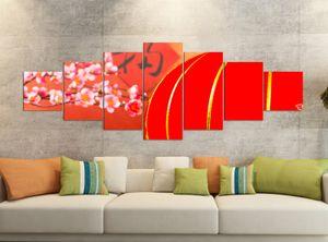 Leinwandbilder 7 Tlg 280x100cm  Kirsche rot Baum Blumen Lampe China japanisch Garten    Leinwand Bild Teile teilig Kunstdruck Druck Vlies Wandbild mehrteilig 9YB1023, Leinwandbild 7 Tlg:ca. 280cmx100cm