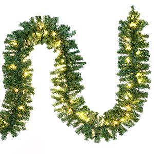 Weihnachtsgirlande  I 5m I100 LED I mit Lichterkette I warmweiß I Out-/Indoor  - Tannengirlande Weihnachtsbeleuchtung Girlande  Weihnachten