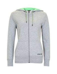 Erima Damen GREEN TRAINING hooded sweat jacket grey-melange, Größe Erima Damen Textil:44, Farbe Erima:grey-melange