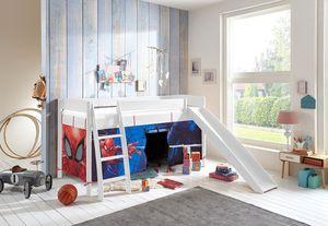 """Relita Hochbett MICHELLE 90x200 cm mit Vorhang Disney """"Spiderman"""", mit Rutsche Buche massiv weiss lackiert"""