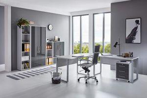 Büromöbel komplett Set Arbeitszimmer Office Edition in Lichtgrau/Anthrazit Hochglanz Set 4